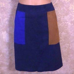 [Modern Vintage] NWT Faux Suede Color Block Skirt